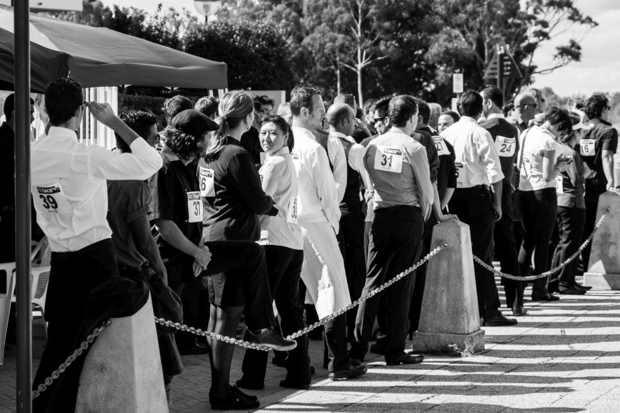 Waiters lined up for their heats