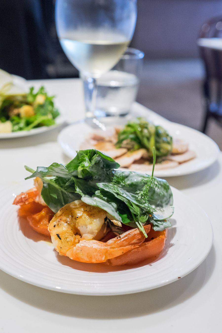 Grilled tiger prawns, saffron tomatoes, buttermilk dressed greens (AU$18.50 tapas size)