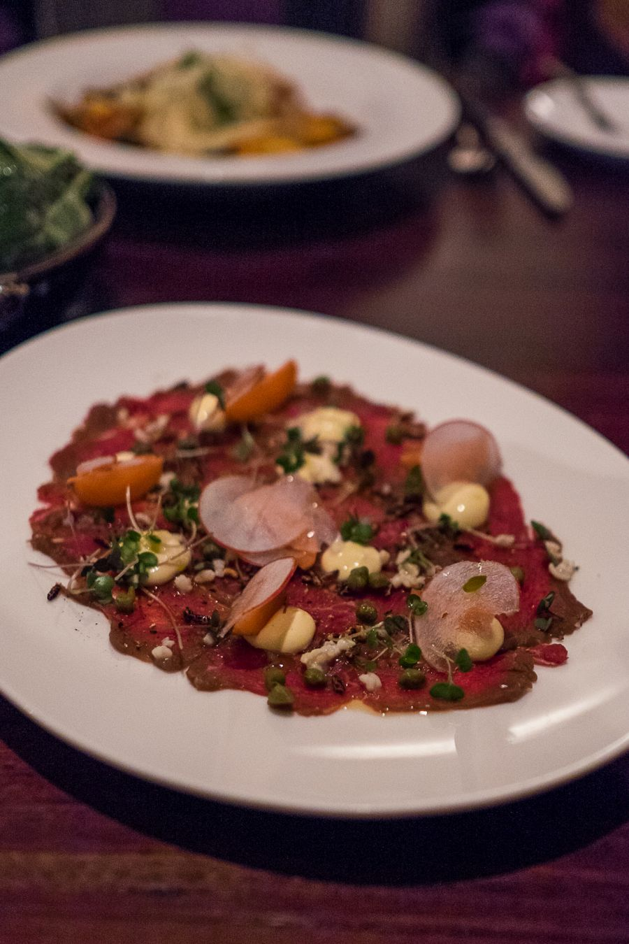 Beef carpaccio (AU$16) - pickled radish, grains, aioli