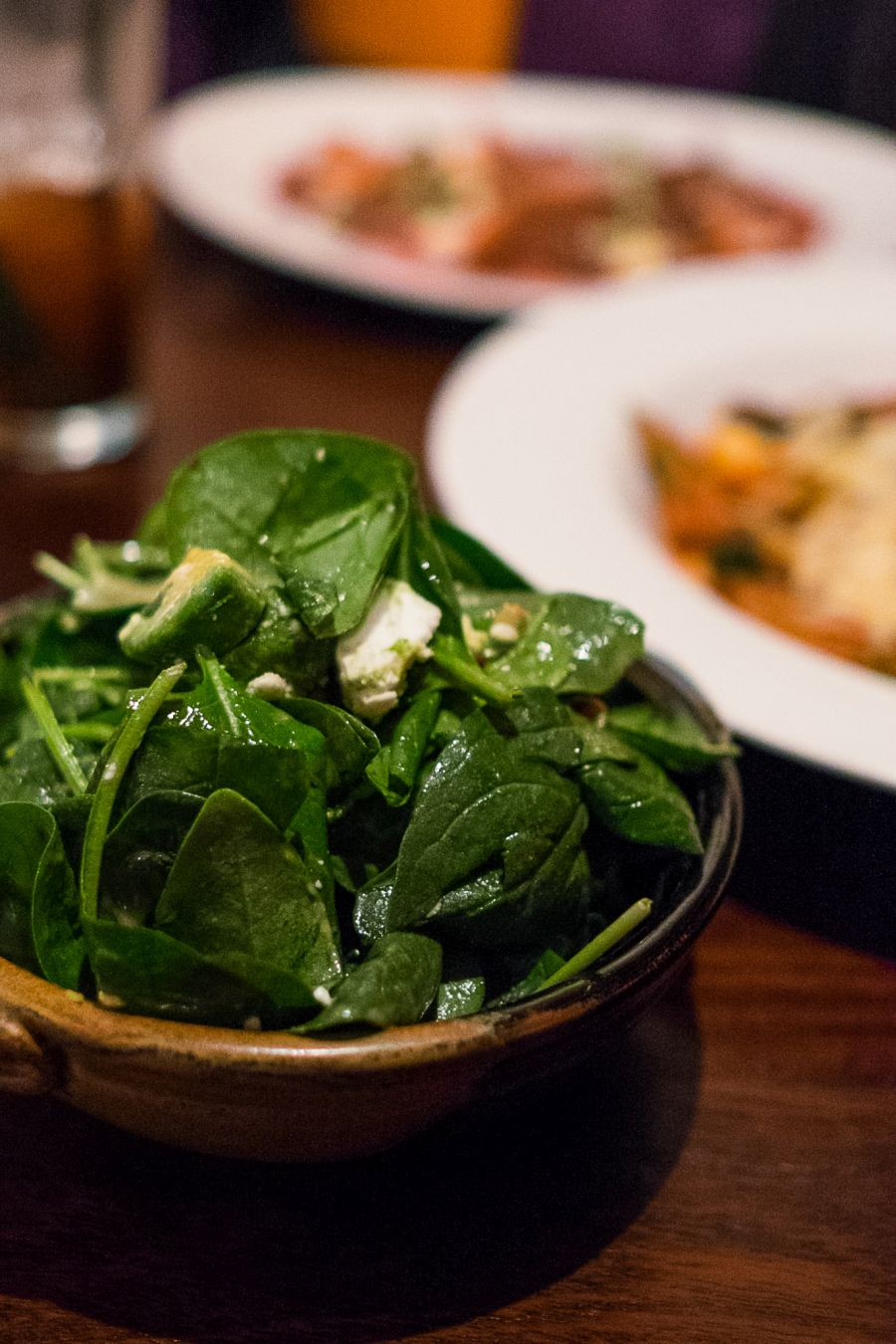 Spinach salad, avocado, feta, pine nuts, vinaigrette (AU$16)