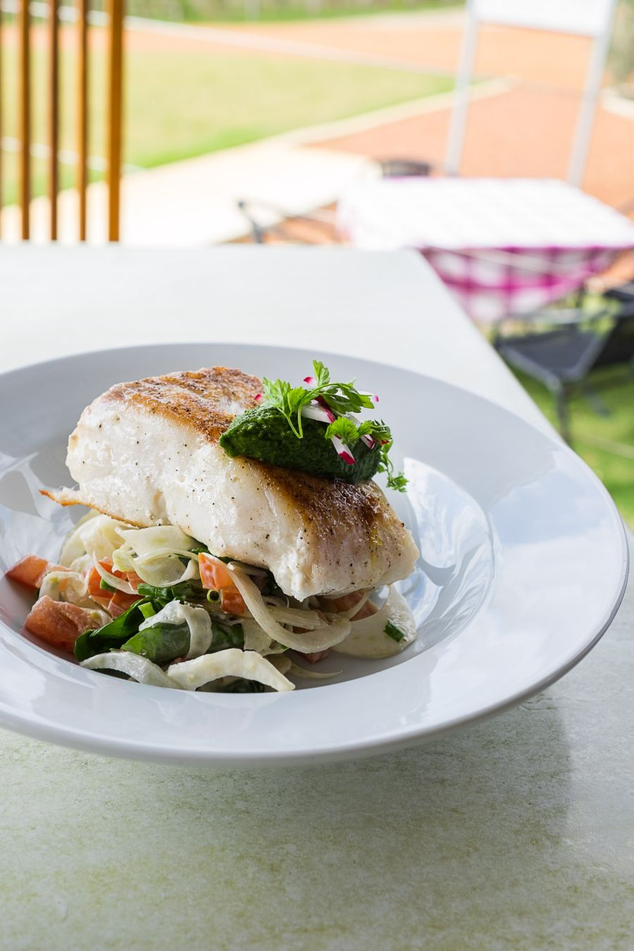 Fish of the day ($market price) - fennel and watercress salad, salsa verde