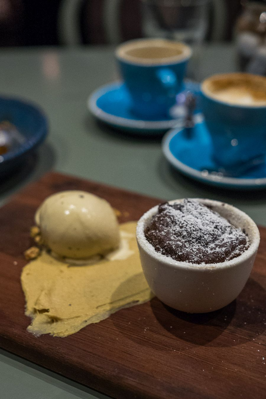 Dark chocolate souffle, banana toffee puree, coffee ice cream (AU$14)