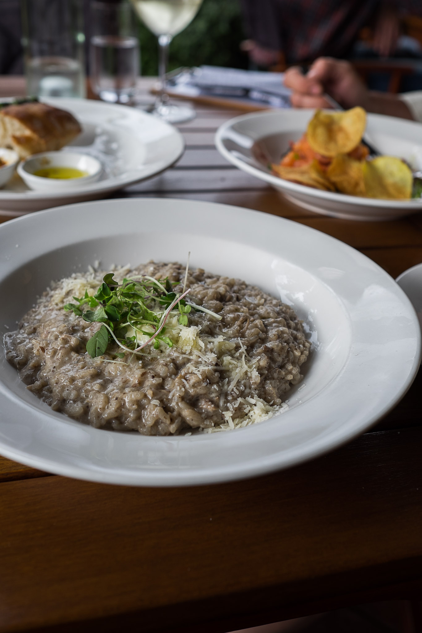 Confit duck and porcini risotto, parmesan, creme fraiche, sweet vinegar reduction (AU$24)