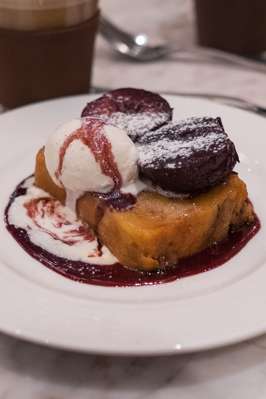 Bread and butter pudding, cinnamon poached plums, vanilla bean ice cream (AU$14.50)
