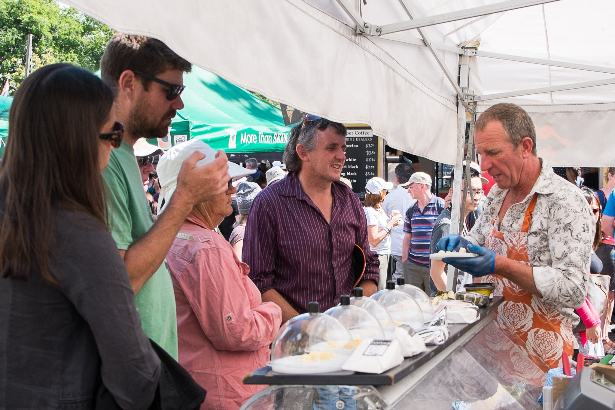 Tastings at the Bruny Island Cheese Co stall