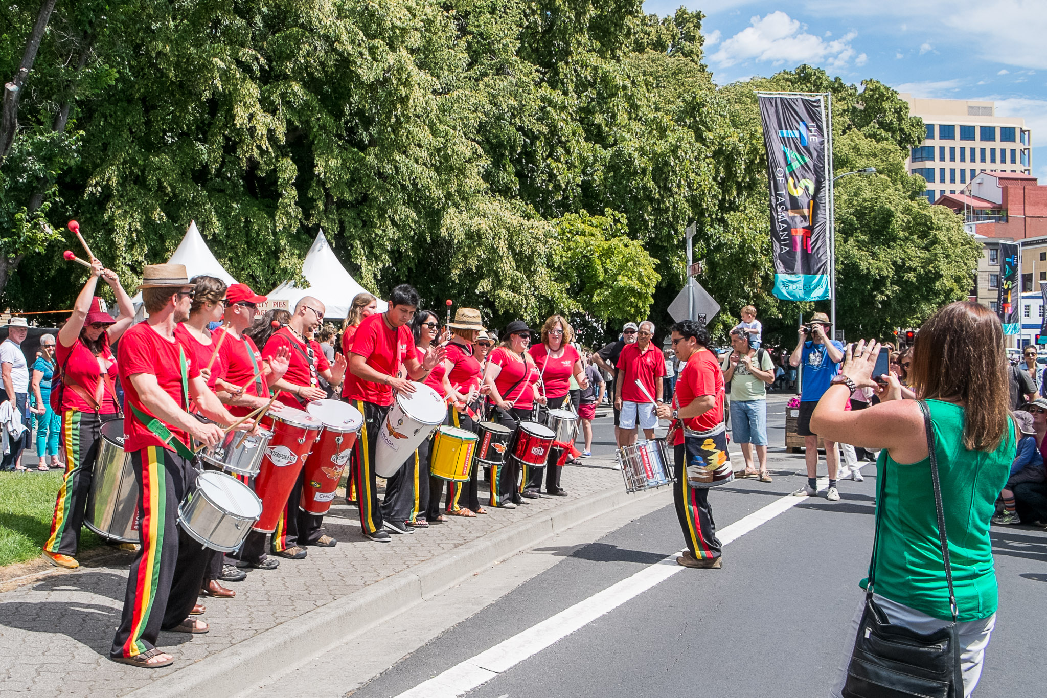Chicada, Tasmania's first Samba band opened The Taste of Tasmania Festival right next to the Salamanca Market.