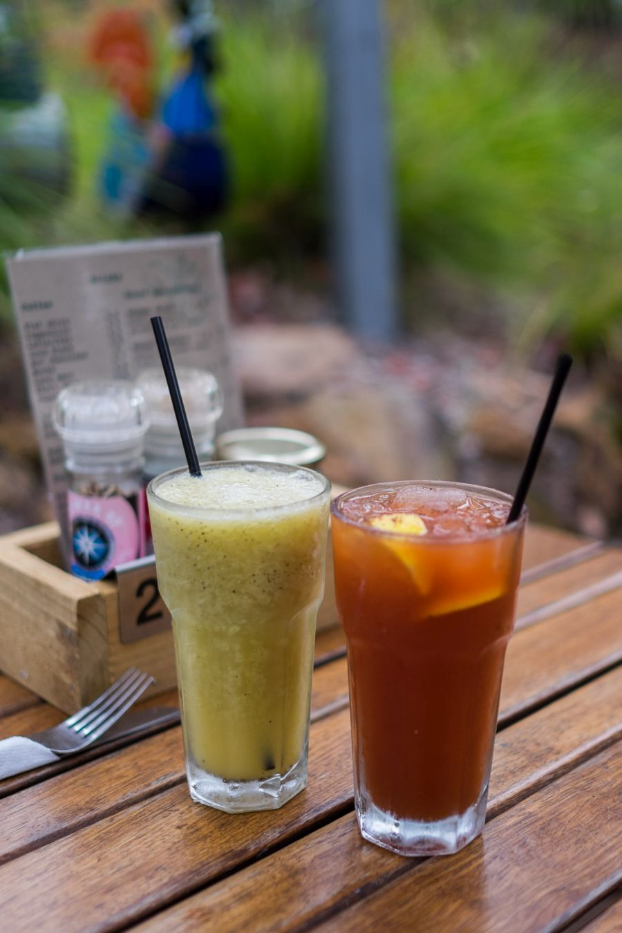 Fruit cooler (orange, passionfruit, lemon, apple and soda - AU$7.50) and Virgin Mary (AU$7.50)
