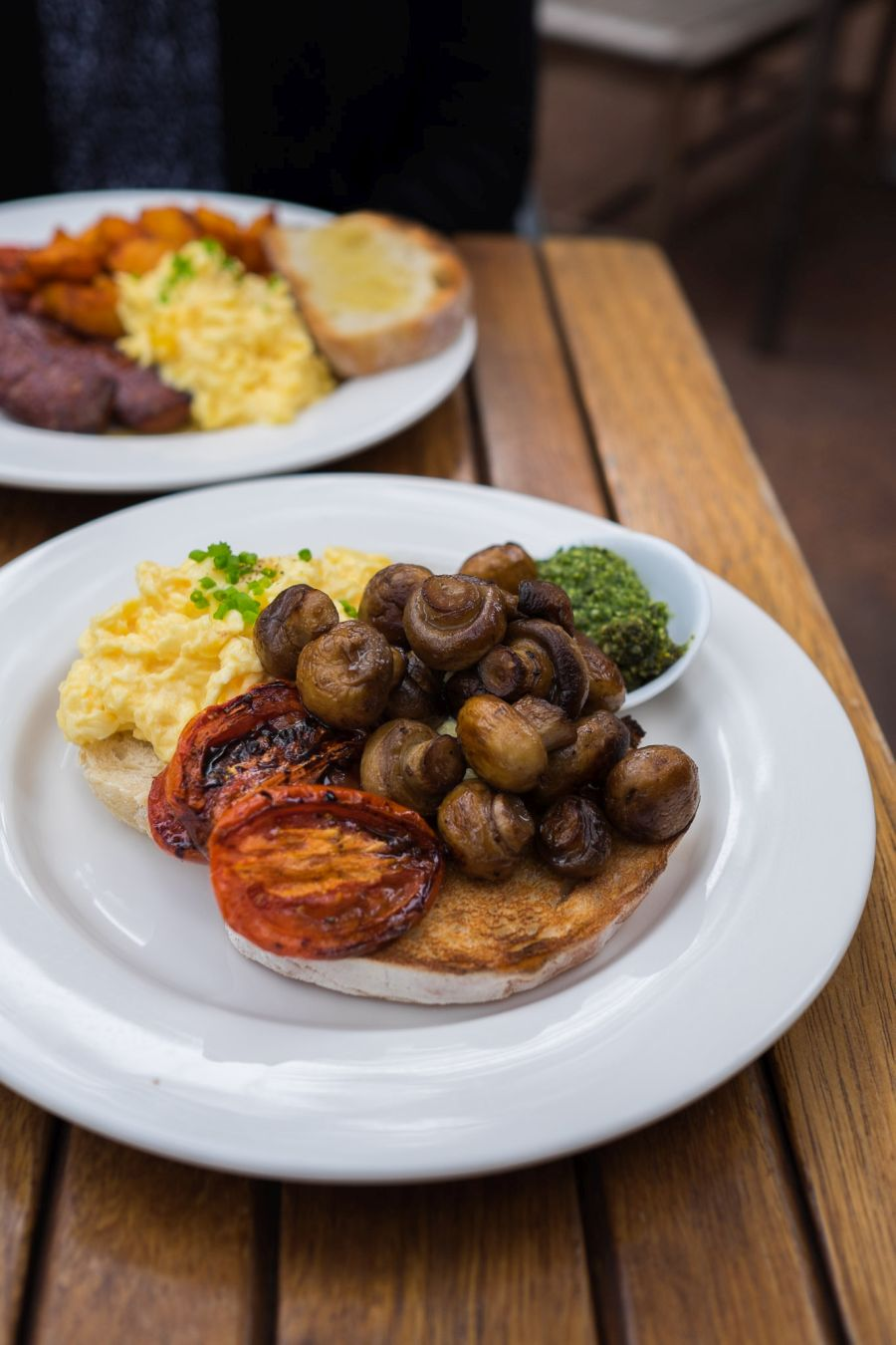 Bush Breakfast - scrambled eggs, wood-fired toast, mushrooms, tomatoes and pesto (AU$19)