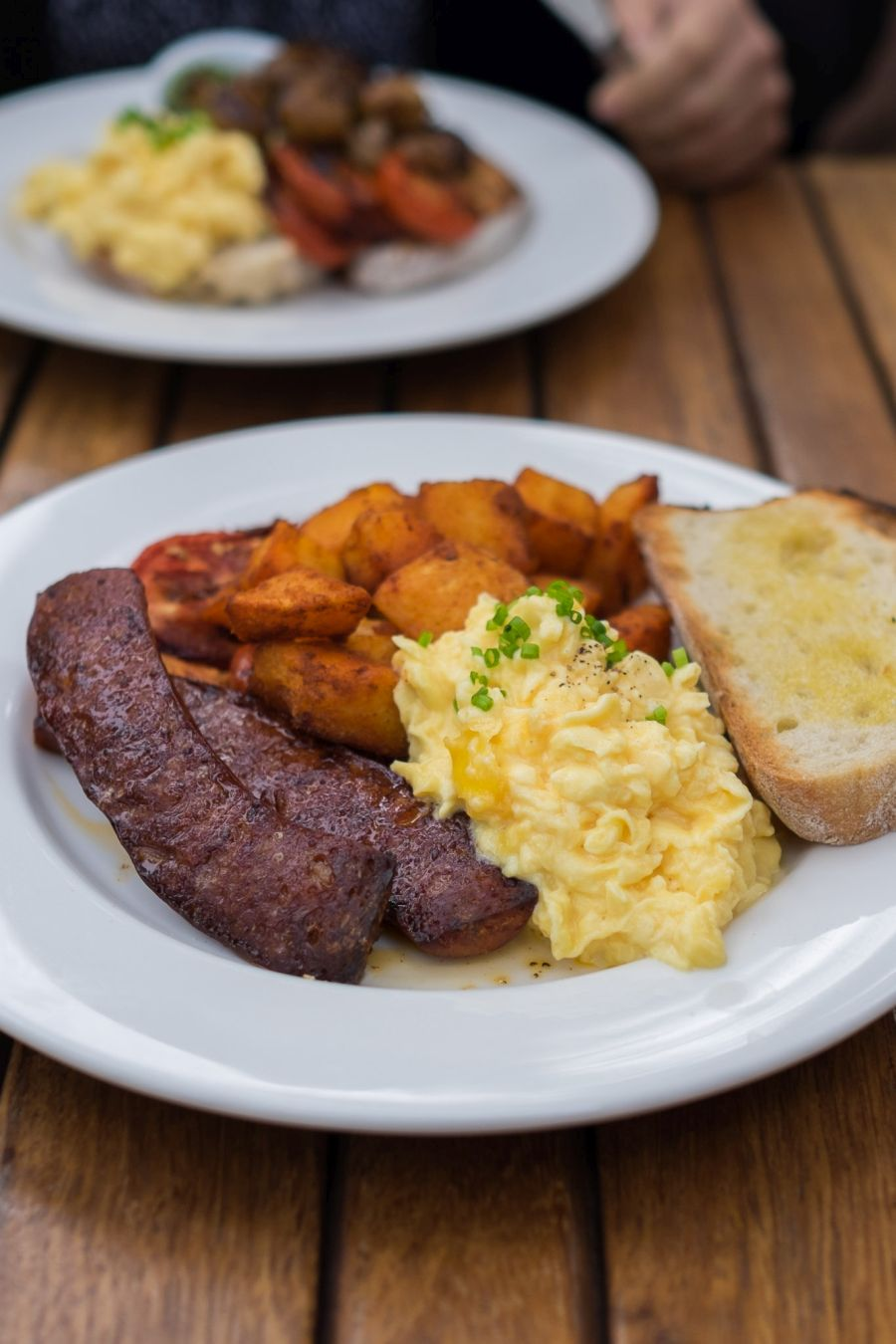 Spanish - scrambled eggs, chorizo sausage, paprika fried potatoes, tomatoes (AU$20)