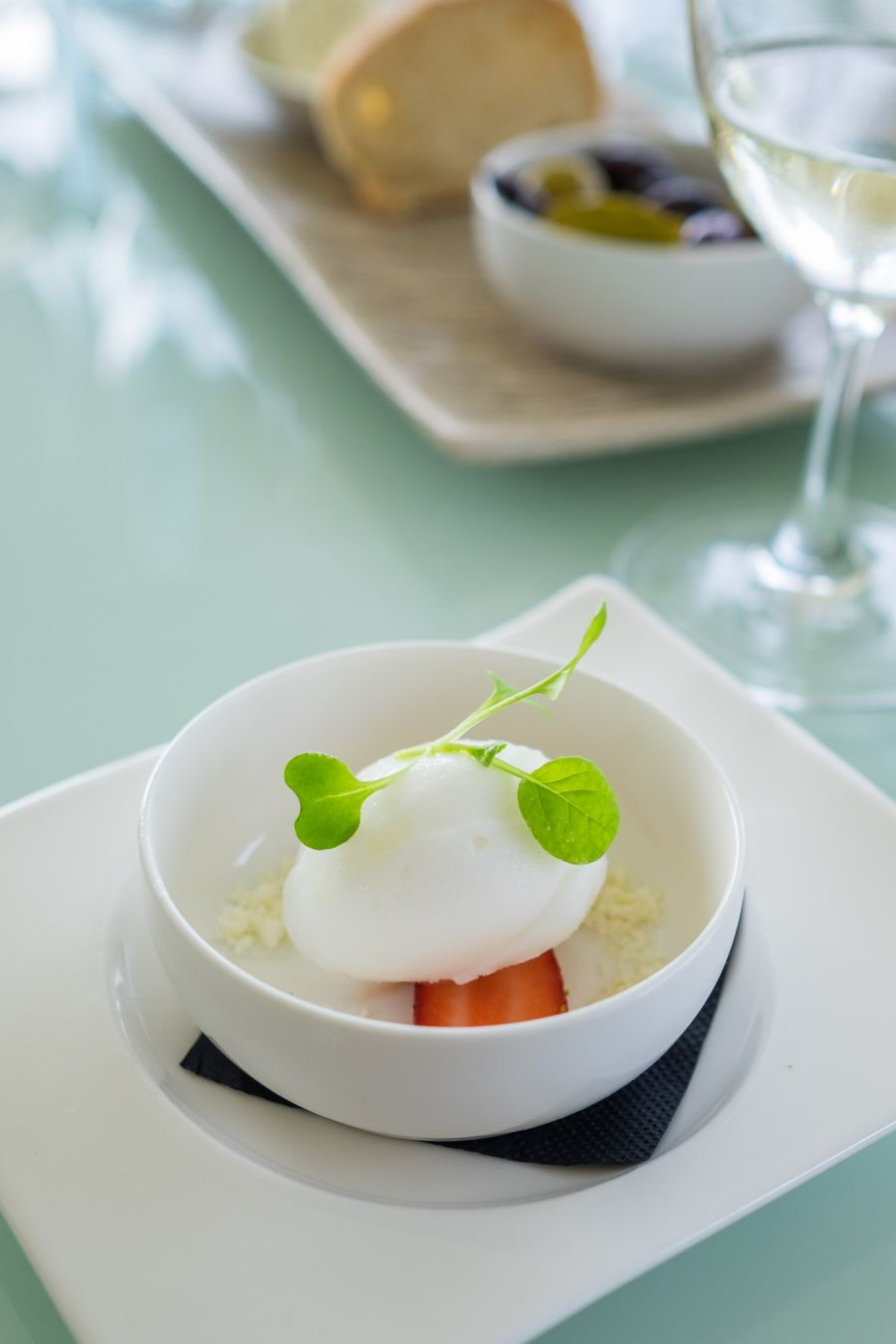 Palate cleanser: lemon sorbet with citrus sherbet and fresh strawberries