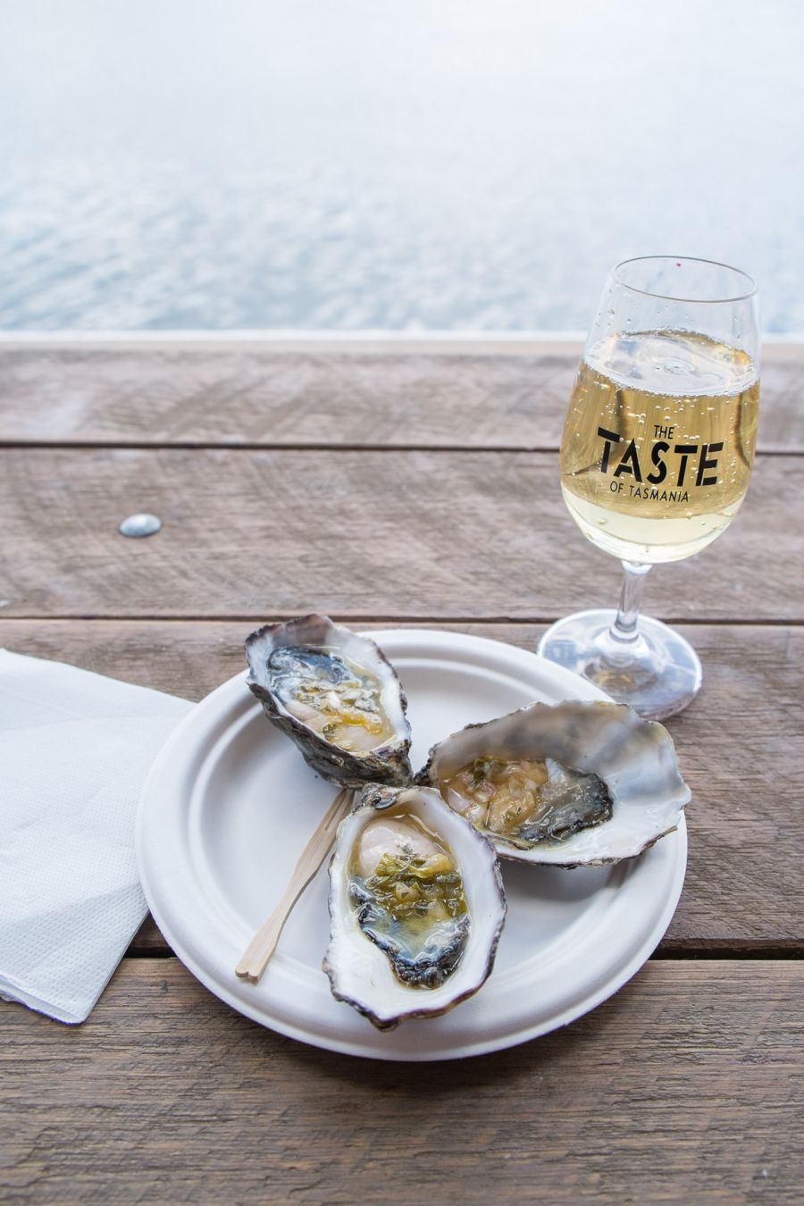 From the Clover Hill Oyster Bar - oysters dressed with Pernod, tarragon and olive oil, with a glass of champagne