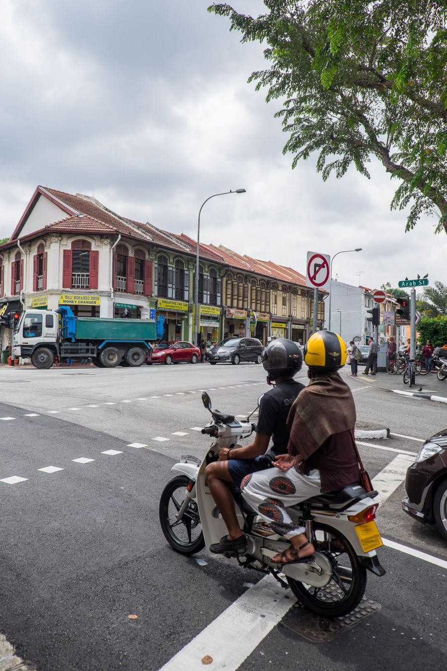We walked along Arab Street and crossed at these traffic lights many times during our stay