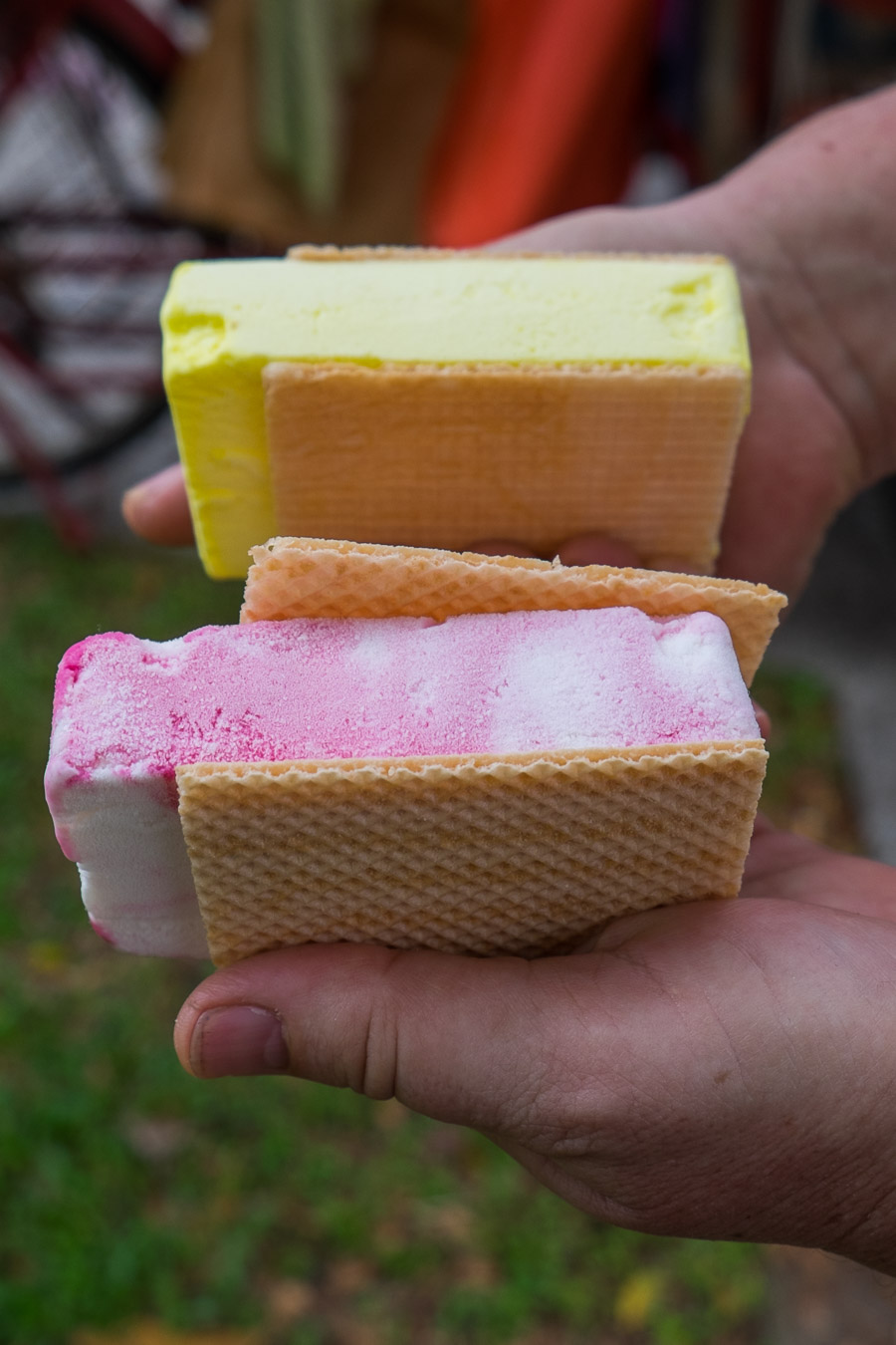 Raspberry ripple and durian wafers