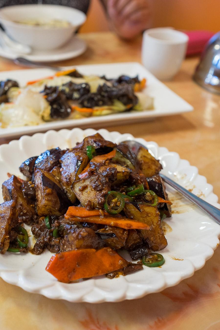 Eggplant and pork mince with brown sauce (AU$13)