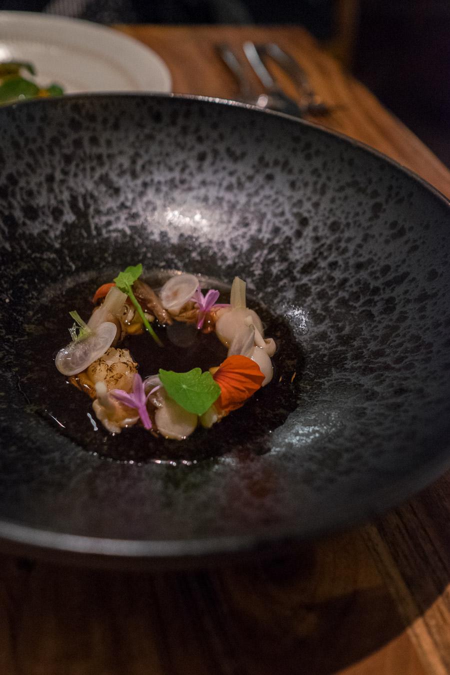 Marron, mushroom dashi + turnips