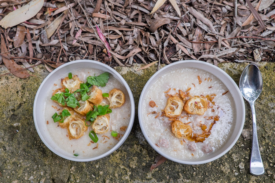 Left: Jay's with all the trimmings. Right: mine, with just sesame oil, yow char kway and fried shallots