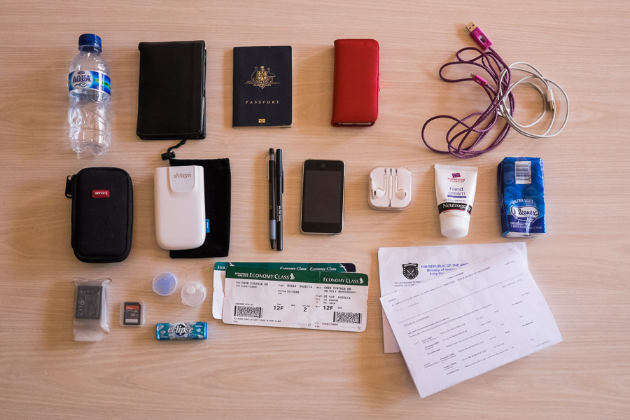 This is typically what I'll have in my pockets when flying. I can fit even more stuff if needed.