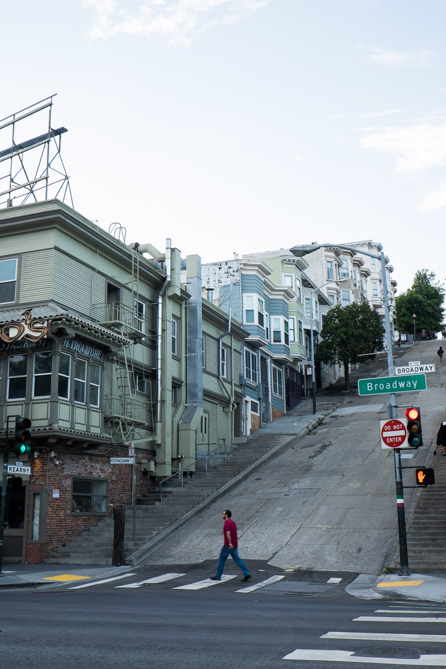 San Francisco has extremely steep hills. I walked up many of them.