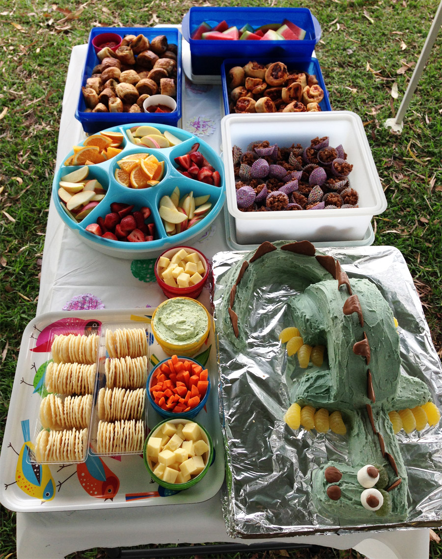 The feast at Caleb's dragon party. Photo by his mum Angela.