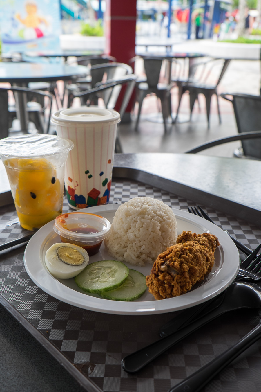 Nasi lemak combo with fruit cup and drink