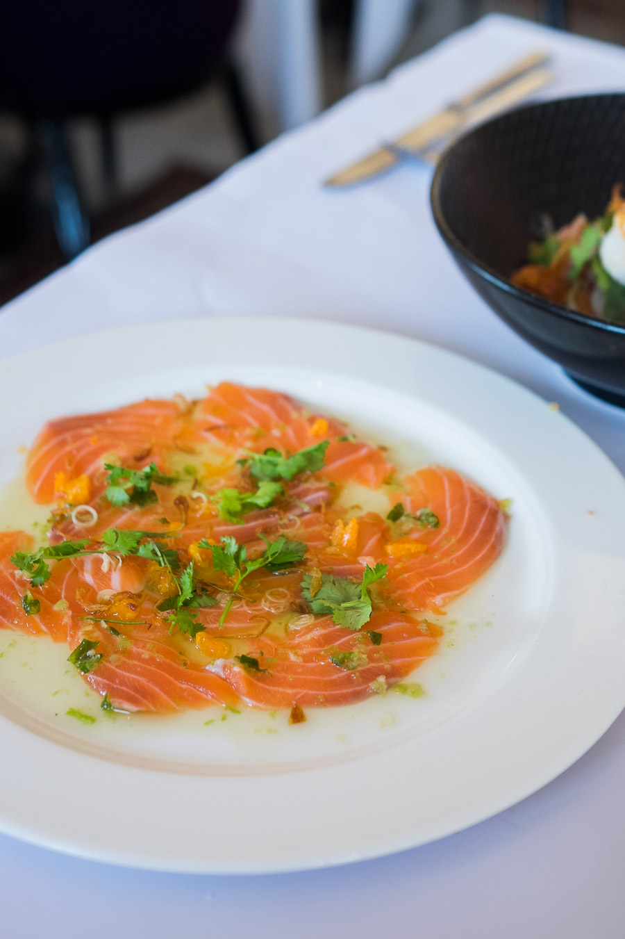 Salmon sashimi with mandarin, crispy garlic, coriander, green chilli nahm jim