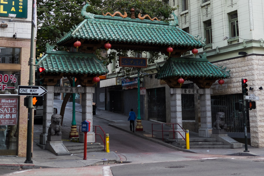 The gates at the entrance of Chinatown on Grant Street, San Francisco