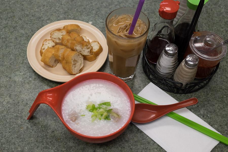 Pork meatball porridge with yow char kway and strong milk tea