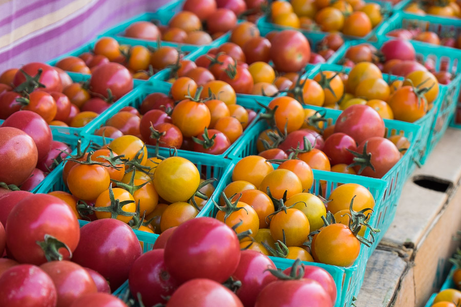 Tomatoes for sale at the farmers' market