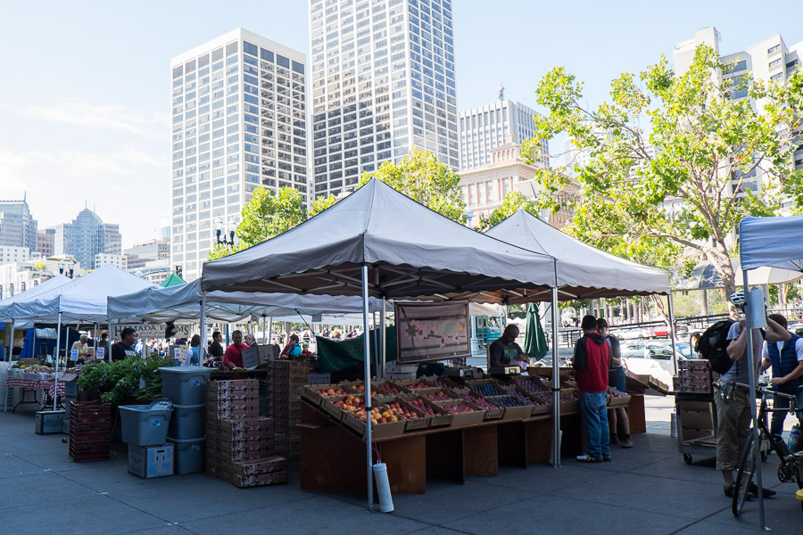 Farmers' market outside Ferry Terminal Building