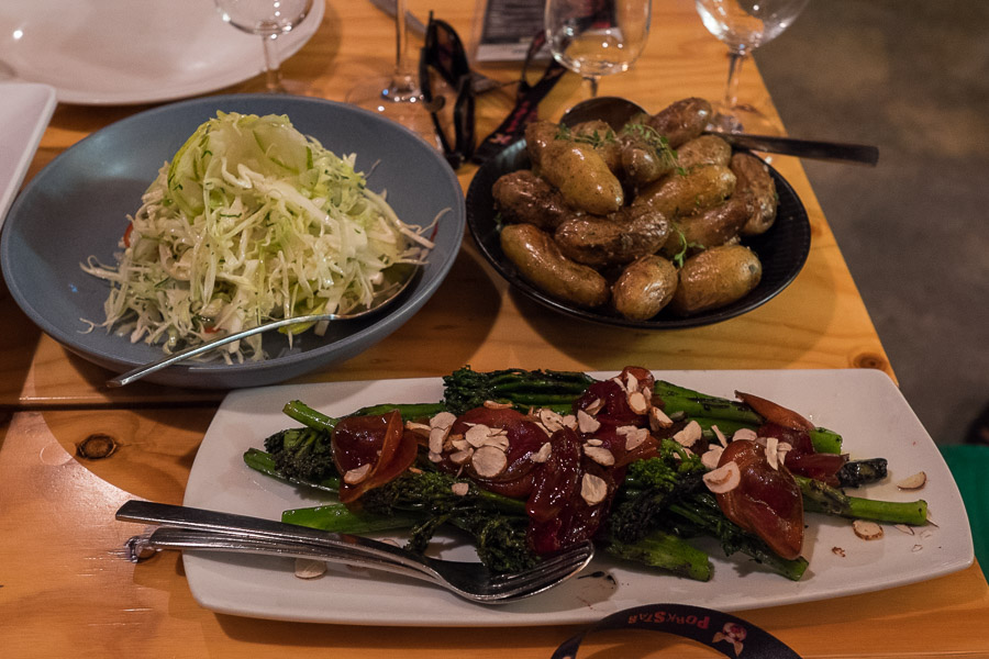 Sides - cabbage, witlof and pear salad with sherry vinegar dressing; local Kipfler potatoes with lemon thyme and dripping; charcoal roasted broccolini with shaved blood plum and sandalwood nut