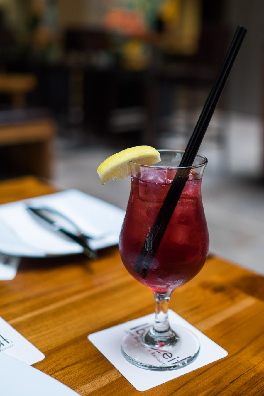 Little Red Dress (AU$16) - strawberry and lychee liqueur with vodka, blue alize and cranberry juice
