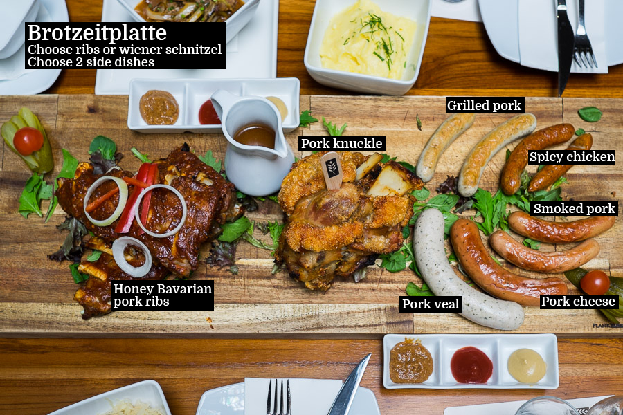 The Brotzeitplatte (AU$88, serves 4-5 people). On this platter, the knuckle and smoked pork sausage are my favourites.