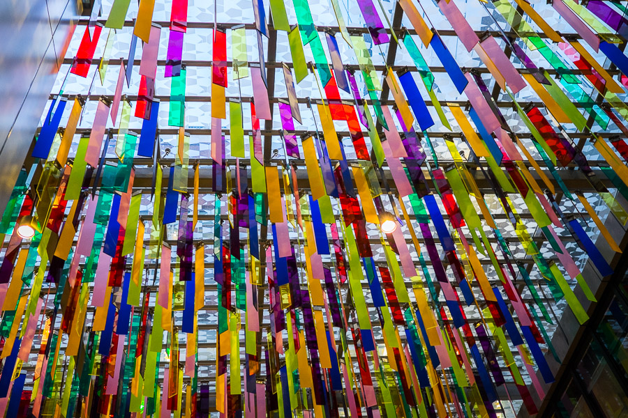 My favourite artwork at 140 currently is this colourful installation by Nike Savvas.