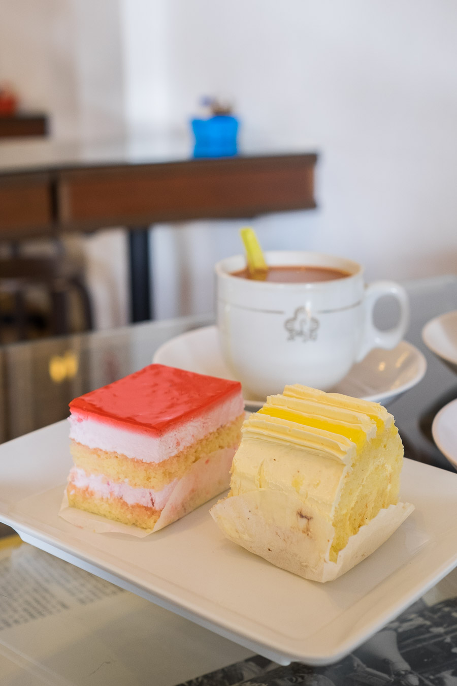 Strawberry mousse cake and good old lemon roll. The sponge cakes were soft and fluffy.
