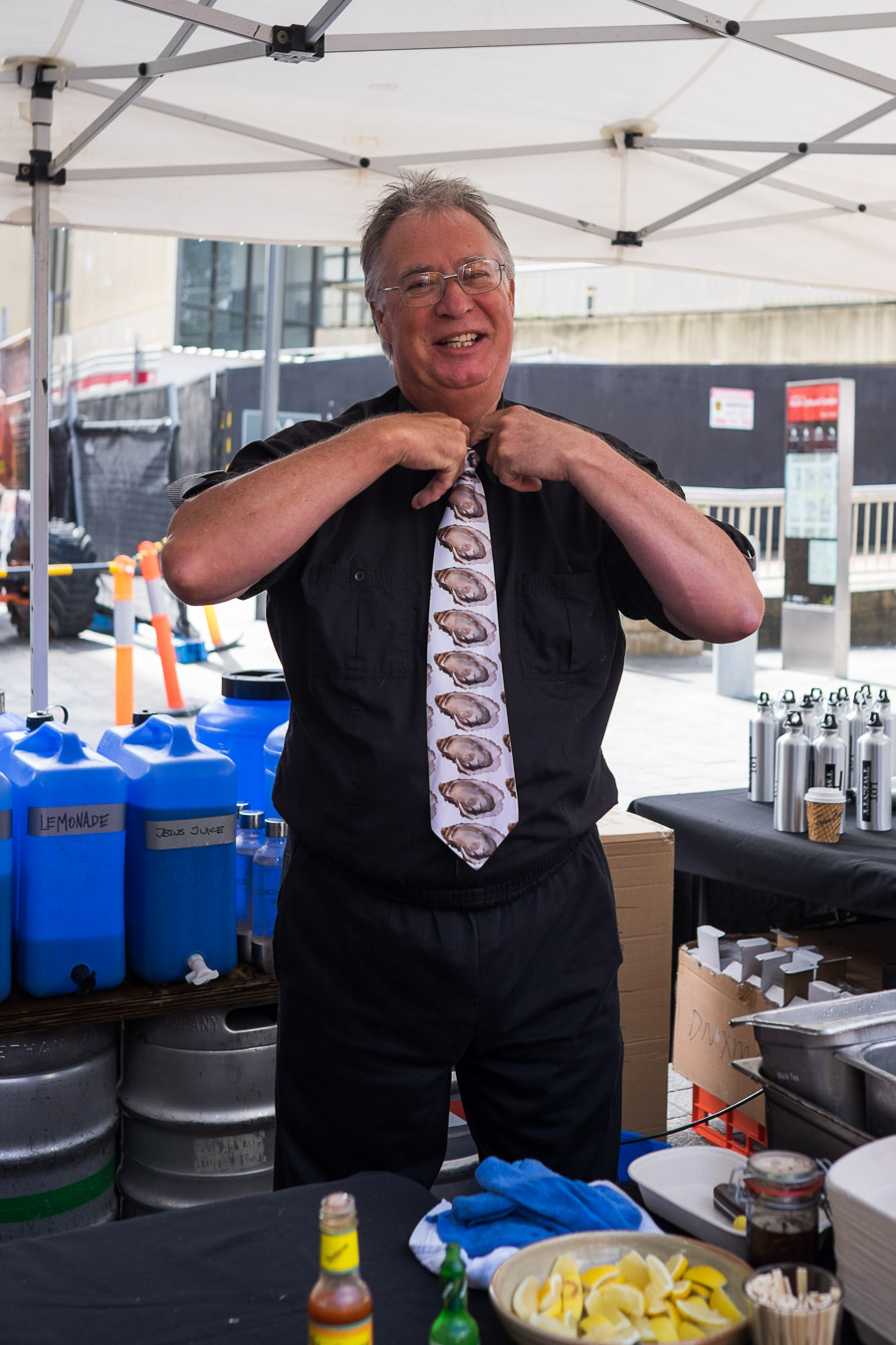 I caught Jerry Fraser putting  on his oyster tie.