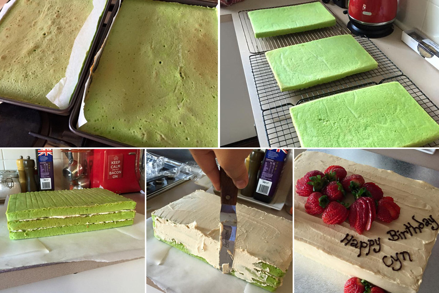 Juji shared these behind-the-scenes shots of my birthday cake being made.