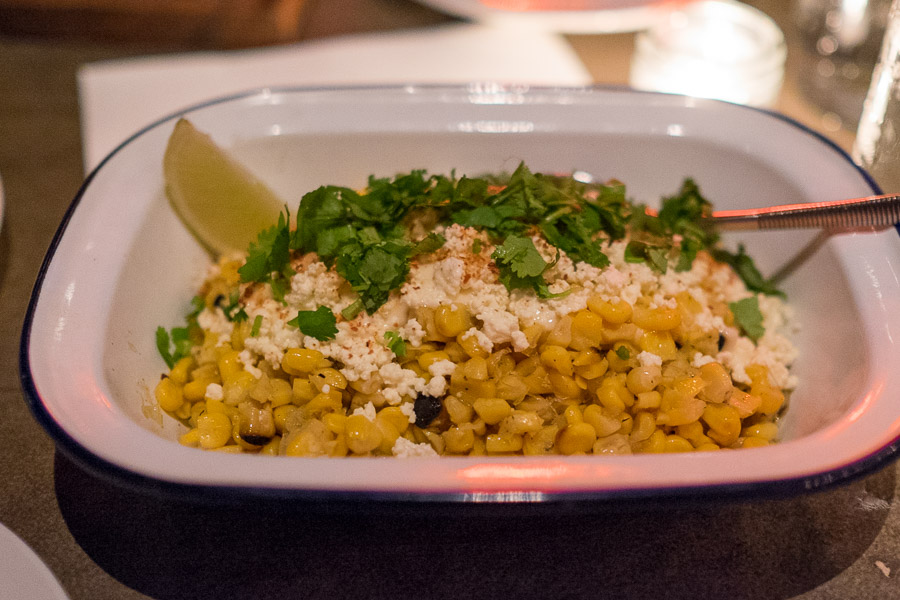 el PÚBLICO - street corn - braised corn with crema, fresh cheese,  chili and lime