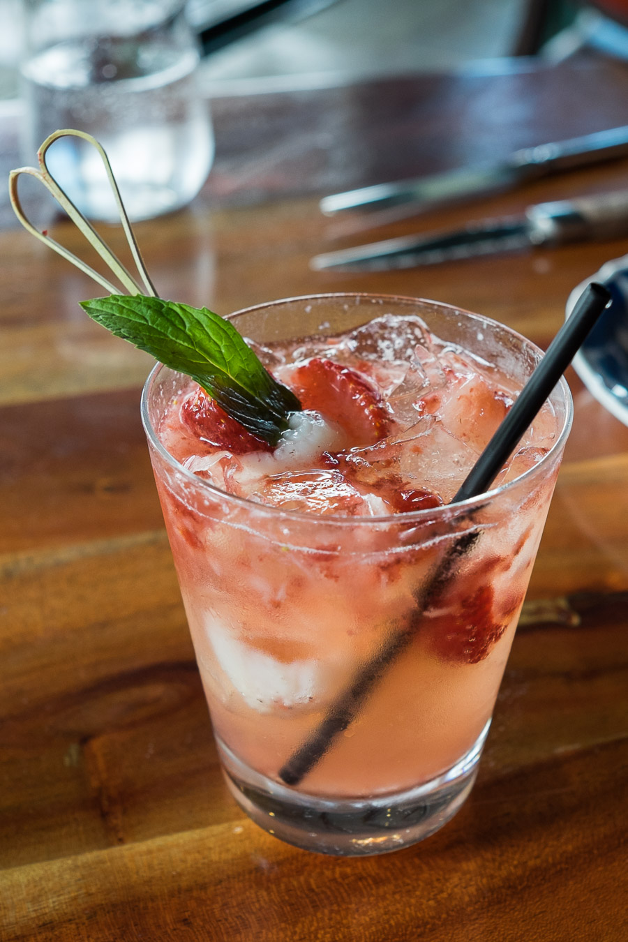 Lychee Ecstasy mocktail (AU$12) - with fresh strawberries, lychees, lime, mint and lemonade.
