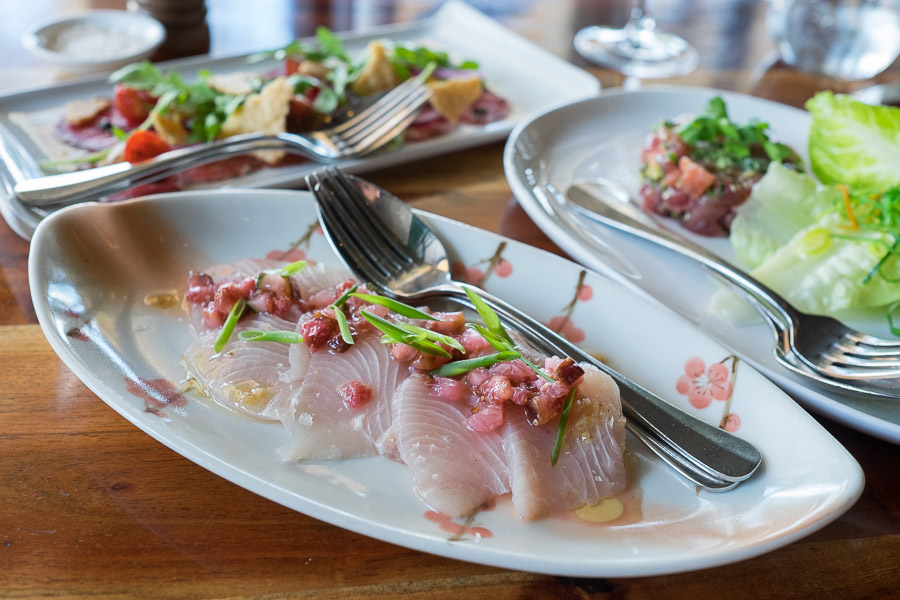 Hiramasa kingfish with pink grapefruit, fig with peppercorn vinaigrette (this is small, AU$28; large is $45)