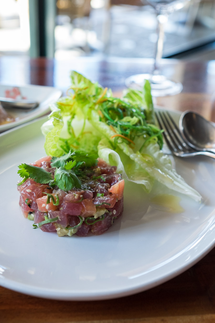 Yellow fin tuna tartare with Japanese radish, avocado, sesame and soy (this is small AU$28; large is $45)