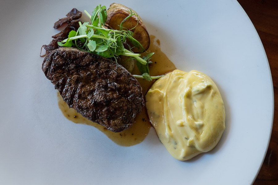 Kilcoy eye fillet (125 grams for AU$32), served with roast kipfler potatoes, caramelised red onion and bearnaise sauce.