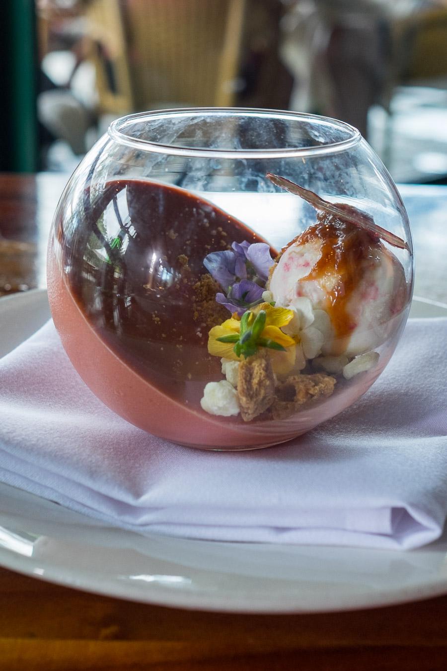 Rhubarb and buttermilk panna cotta (AU$18) with shortbread, white chocolate ganache and frozen yoghurt.