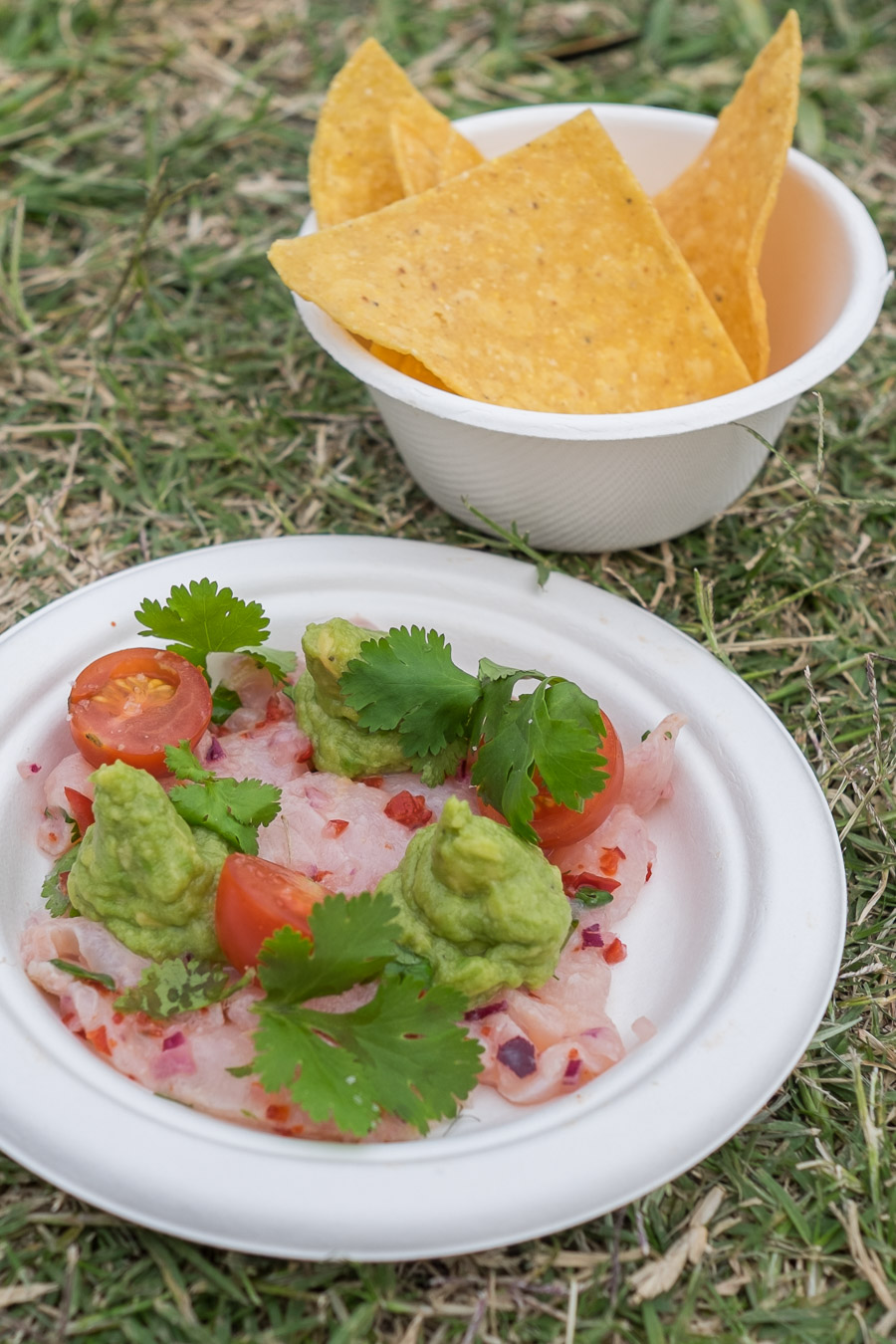 Asado: Ceviche - market fish, avocado, coriander, lime, chilli, cherry tomatoes, house tortilla chips (12 crowns).