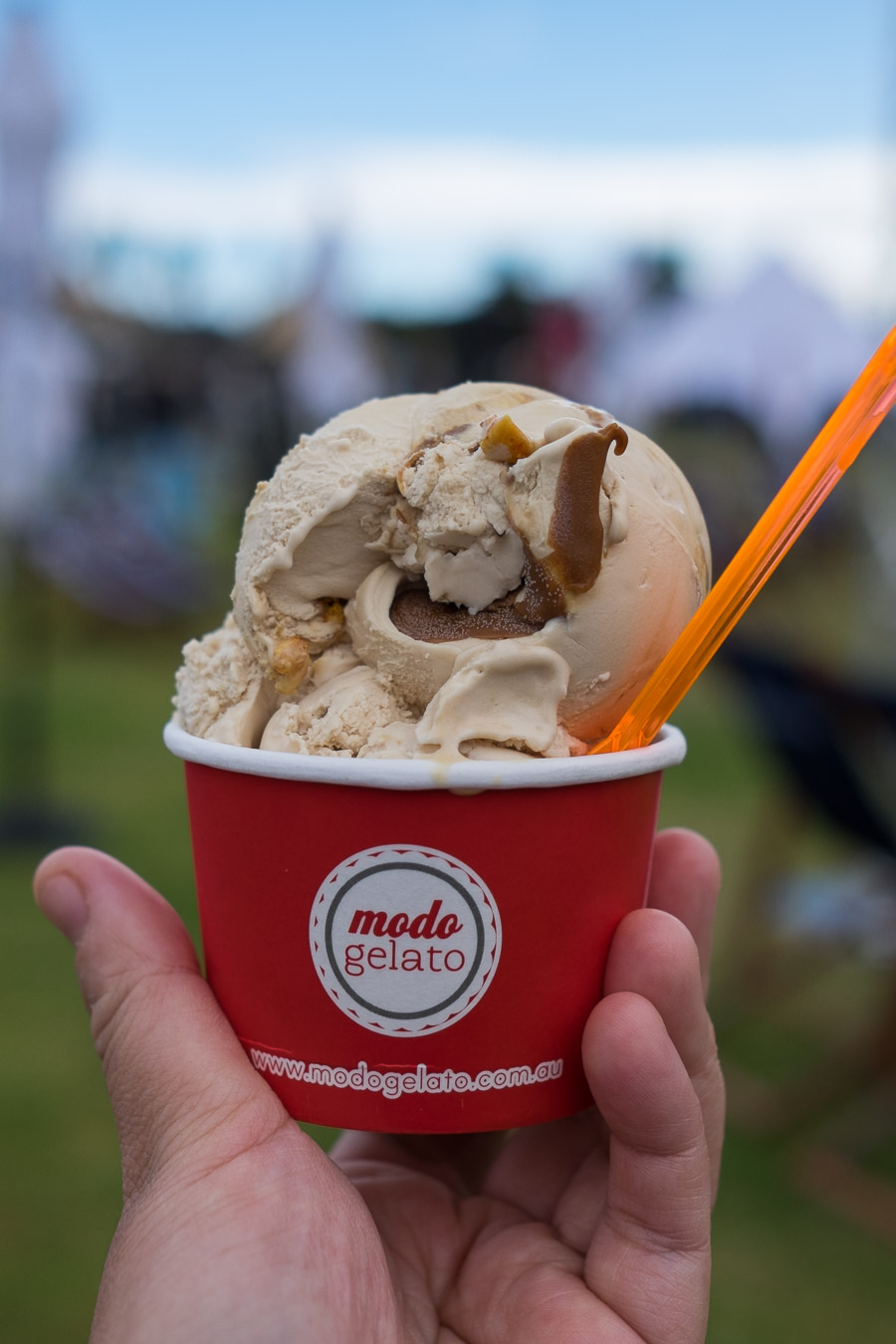 Modo Gelato: Salted Caramel with Honeycomb (6 crowns for 2 scoops).