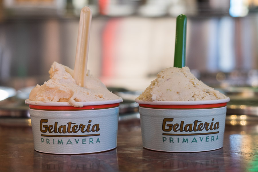 Salted caramel (left) and nougat (right) gelati from Spring Street Grocer