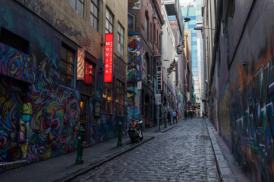 Hosier Lane, home to the marvelous Movida and some remarkable street art.