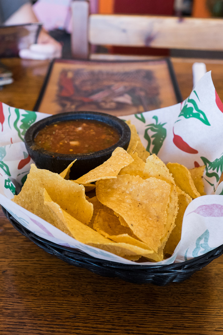 Corn chips and salsa at Zapata's.