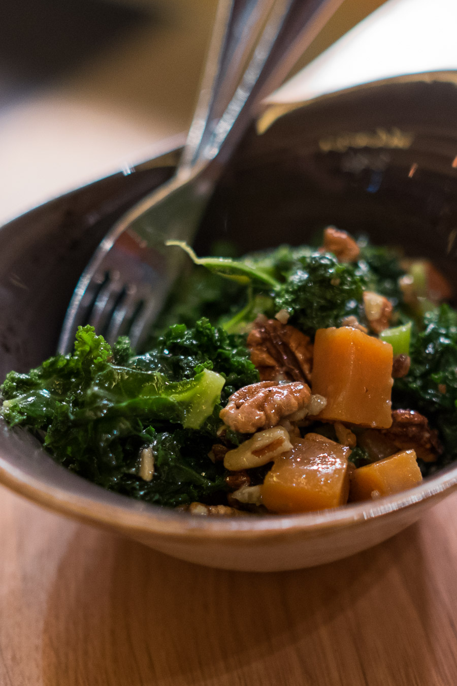 Kale and yams (AU$12) - candied yams, pecans and sweet mustard dressing