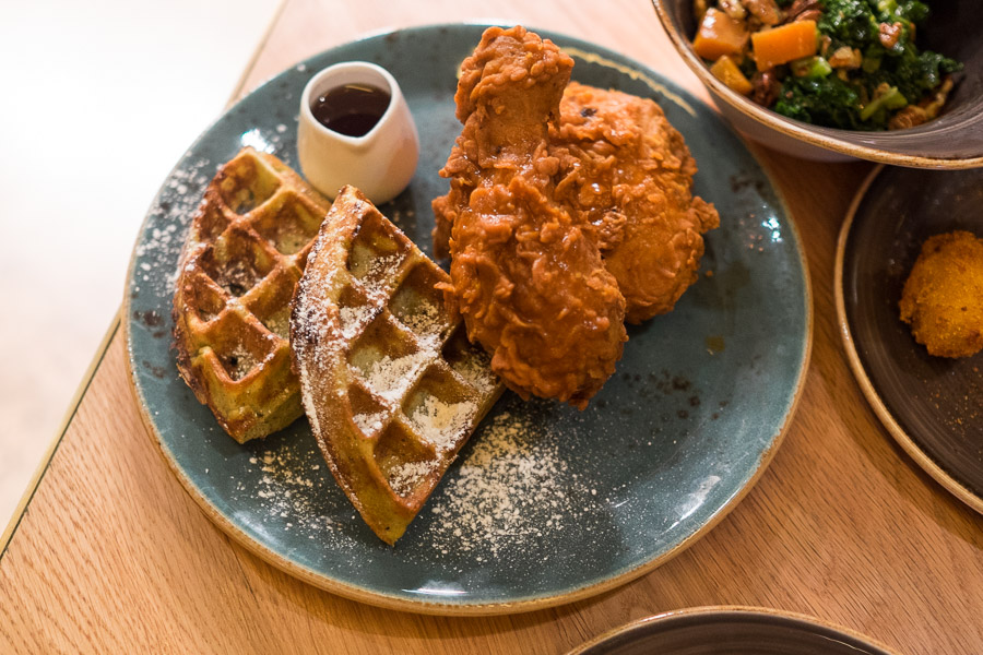 Chicken and waffles (AU$25) - buttermilk fried chicken, rosemary waffle and spiced maple syrup.