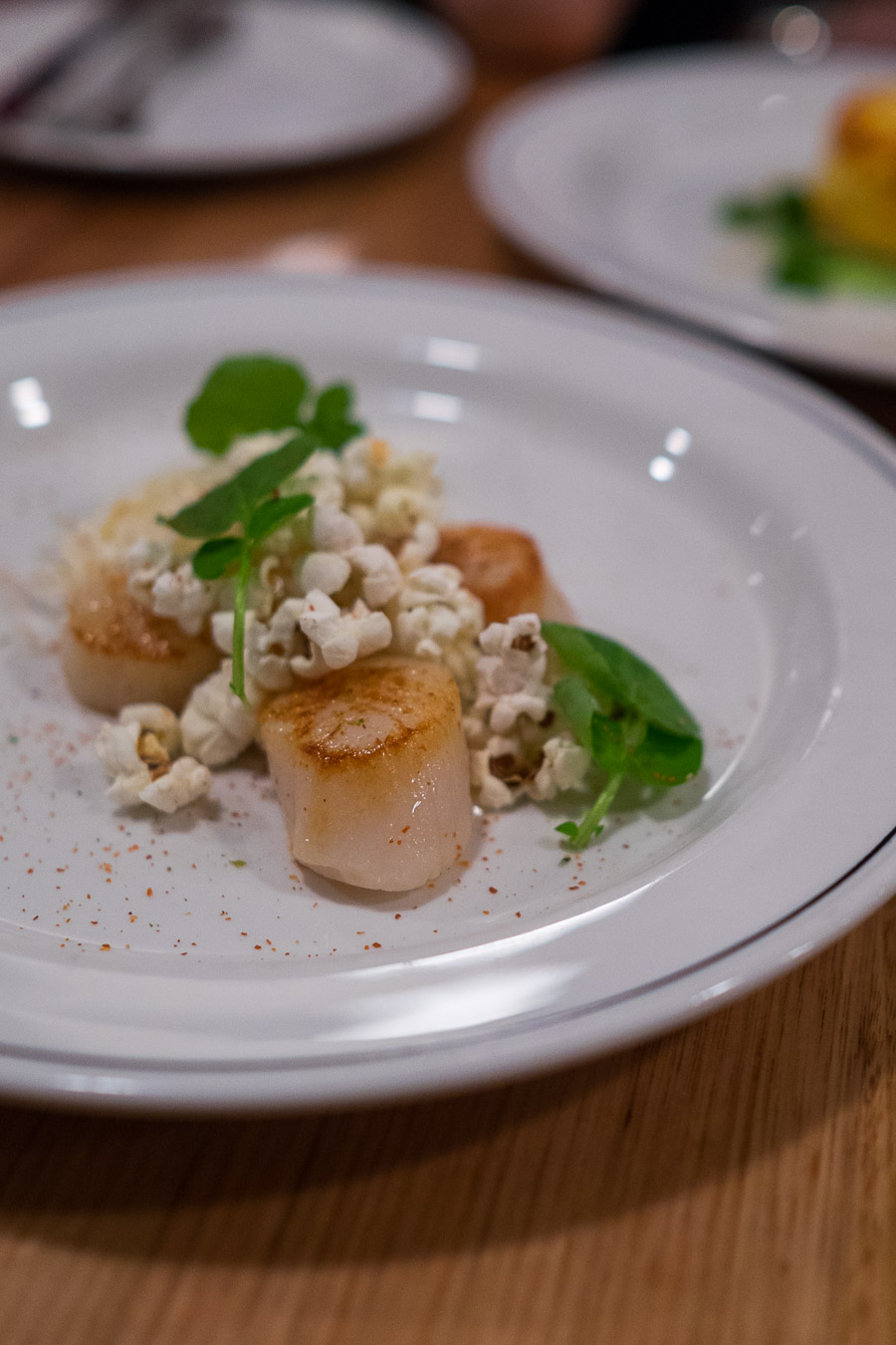 Pop scallops (AU$13) - scallops with popcorn, chilli, watercress and celeriac.